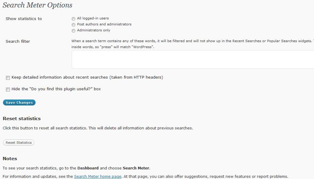 Abbildung 1: Search Meter Optionen / Einstellungen