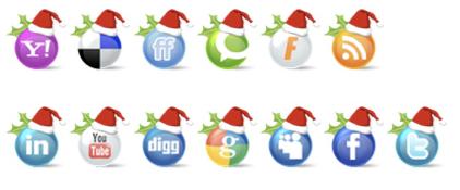 Social-Media-Icon-Set-Kugeln-mit-Weihnachtsmuetze