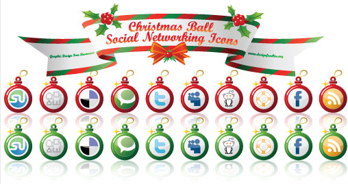 Early christmas social networking icons rote und grüne