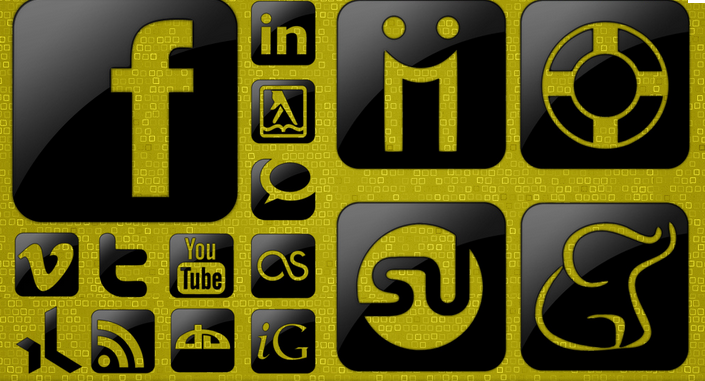 Xing Social Media Icon Set gelb grün schwarz