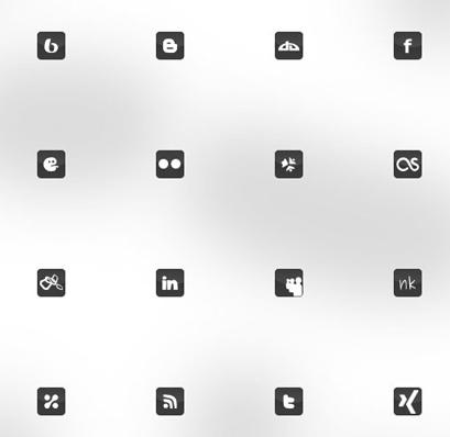 Xing Social Media Icon Set schwarz weiß