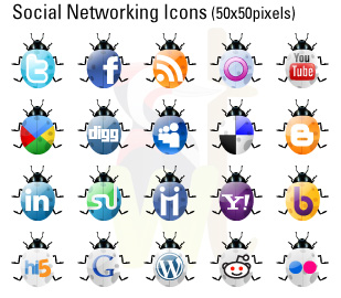 Beetle Social Networking Icon Set