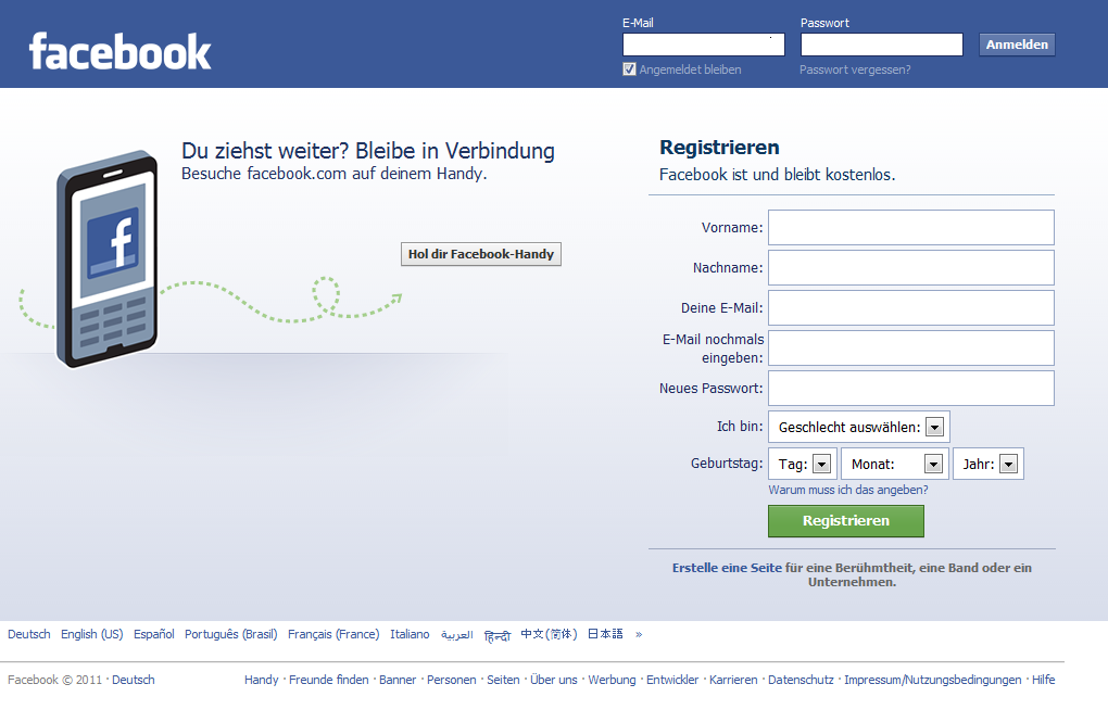 facebook registrierung