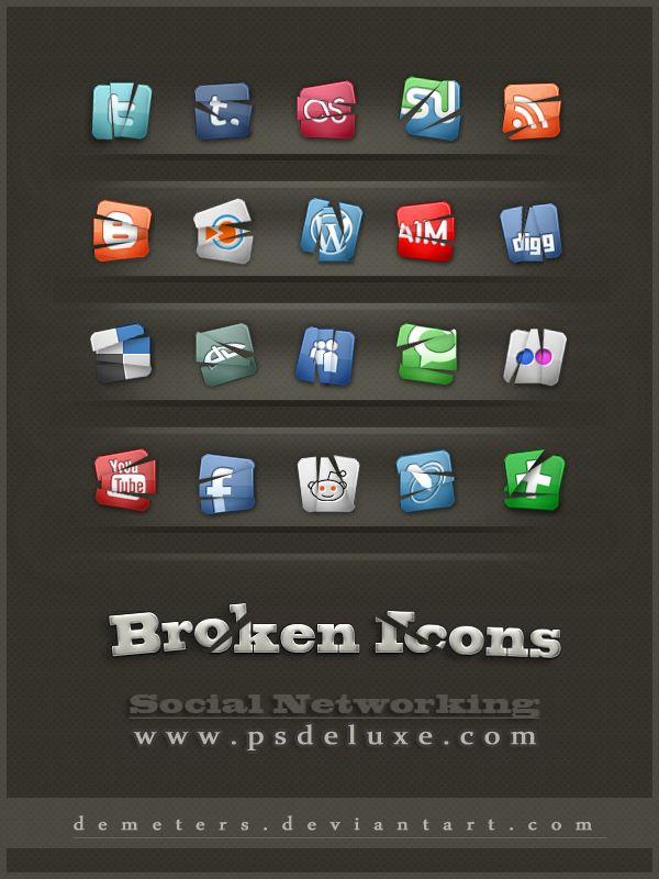Free Broken Social Media Icons