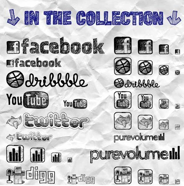 Social Media Icons Sketchy