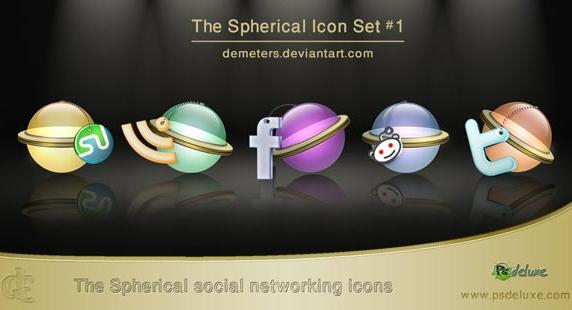 Spherical Social Bookmarking Icons