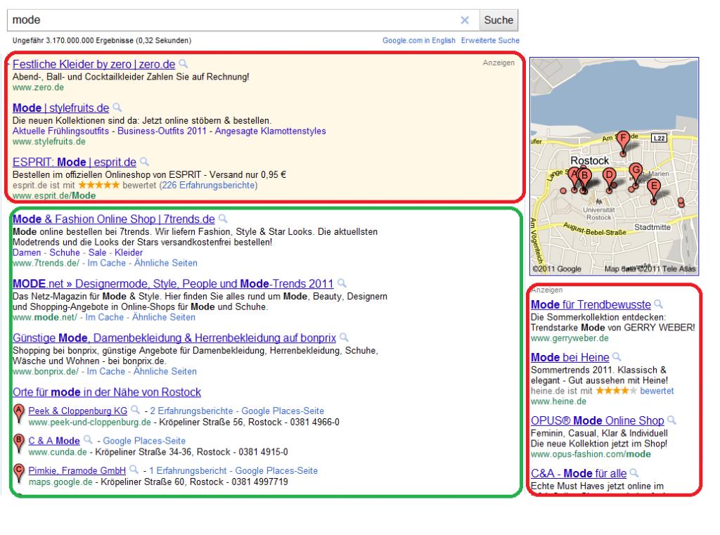 Google Adwords Anzeigen Suchergebnisse
