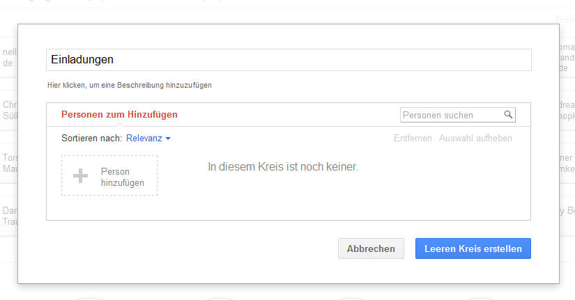 Google Plus Circle Personen einladen