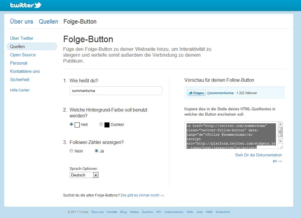 Neuer Twitter Follow Button - erstellen und einbinden