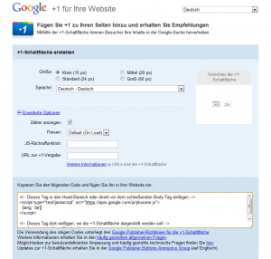 Google Plus One Button in Webseite oder Blog einbinden