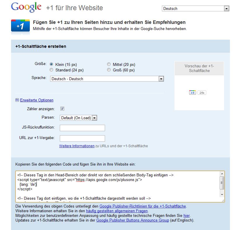 Google Plus One Button in Webseite oder Blog einbinden