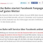 Deutsche Bahn - Facebook Fanpage