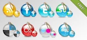 Social Icons Glossy Christmas-Balls