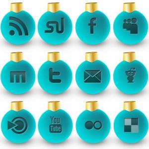 Social Media Weihnachtskugeln blau