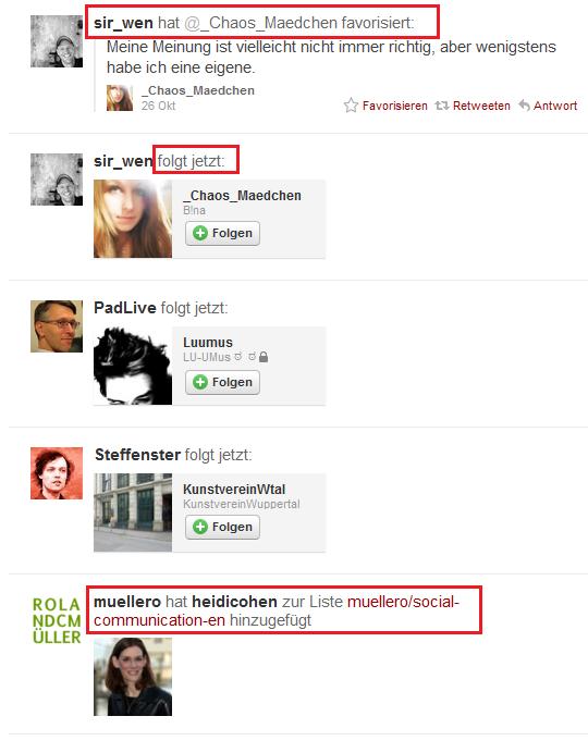 Twitter Aktivitäten Navigation - Retweets, Favoriten, Listen