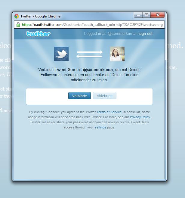 Tweetsee mit Twitter-Account verbinden