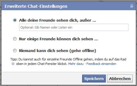 Facebook Online Status verbergen - Variante 2-2
