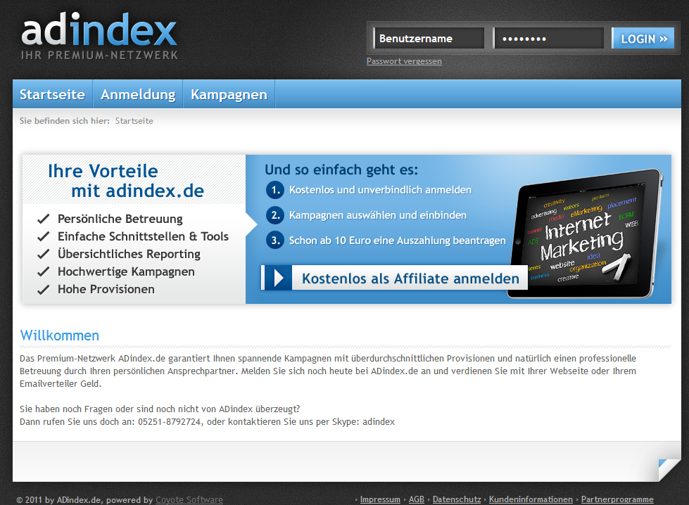 Adindex Affiliate Netzwerk