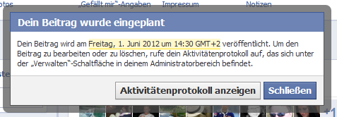 Facebook Fanpage Beitraege planen - Bestaetigung