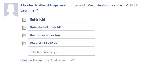 Facebook Umfrage erstellen 4