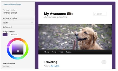 Wordpress Live Theme Vorschau