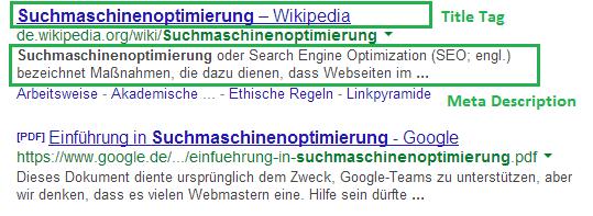 SEO Suchergebnisse Google