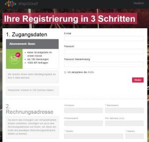 shipcloud Registrierung