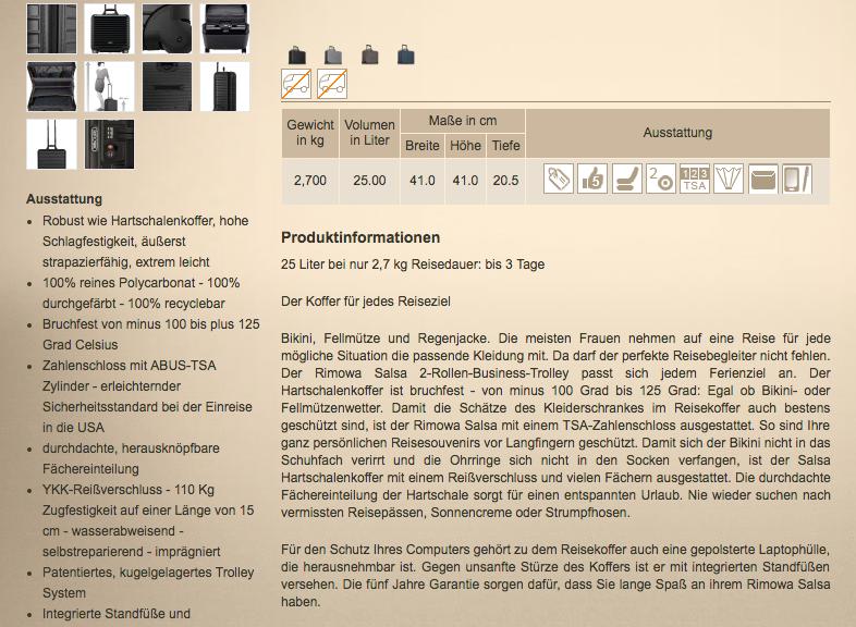Online Shop Produktbeschreibung