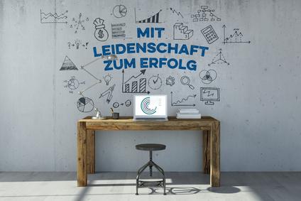 Schreibtisch mit Leidenschaft zum Erfolg