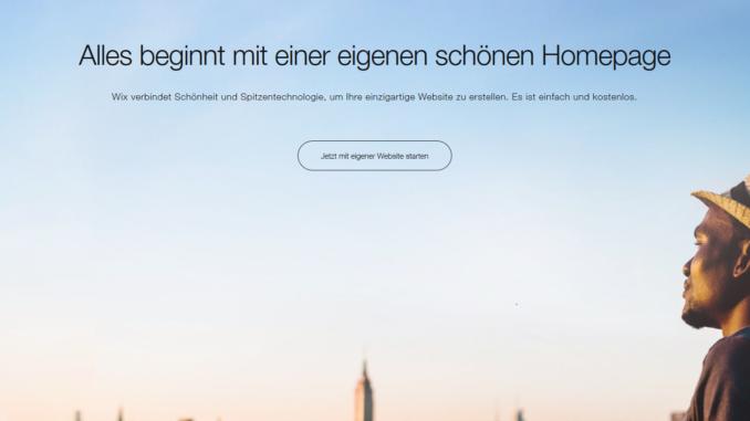Homepage Baukasten Wix