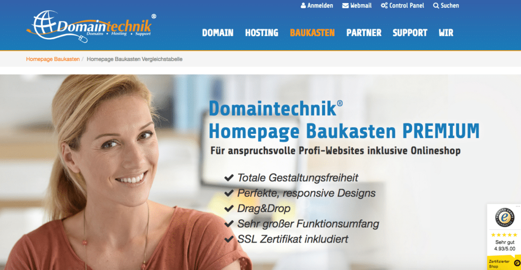 Screenshot Homepage Baukasten von Domaintechnik AT