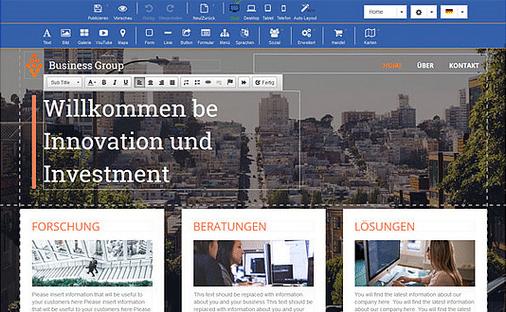 Texte im Homepage Baukasten ändern